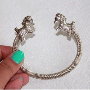 Jewelry - Sterling Silver Cable Split Cuff Bangle w/ Horses